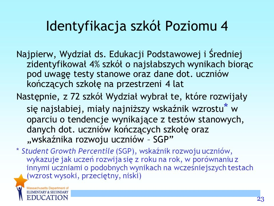 23 Identyfikacja szkół Poziomu 4 Najpierw, Wydział ds.