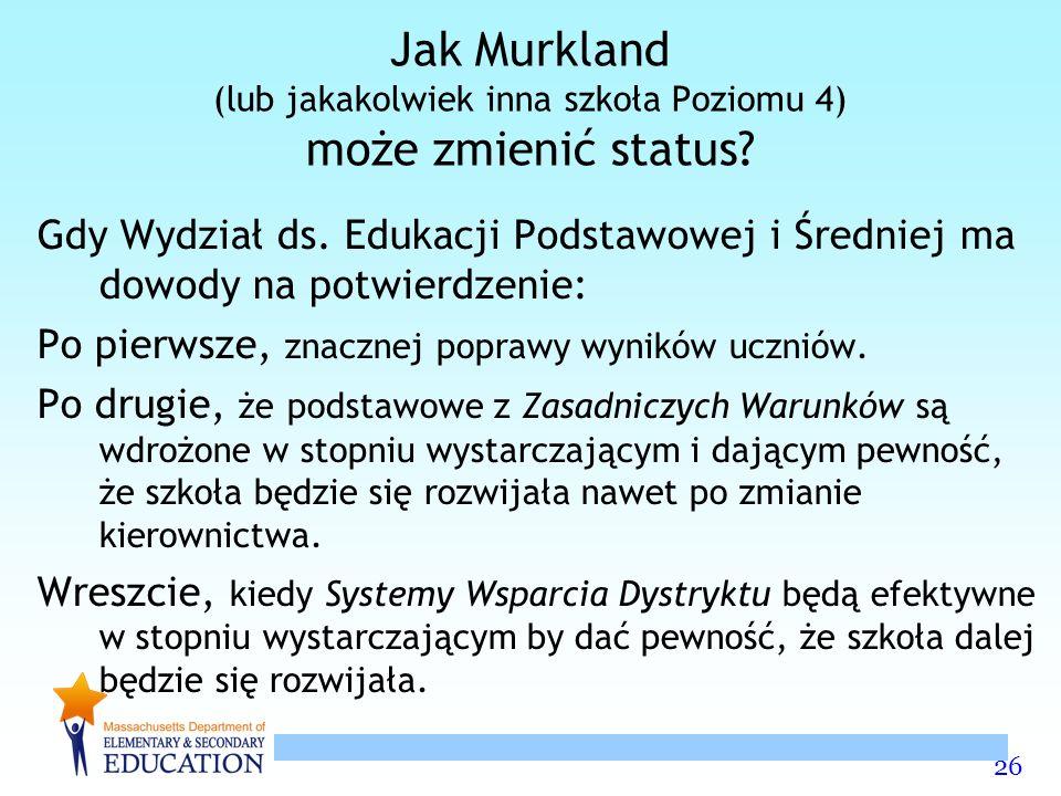 26 Jak Murkland (lub jakakolwiek inna szkoła Poziomu 4) może zmienić status.