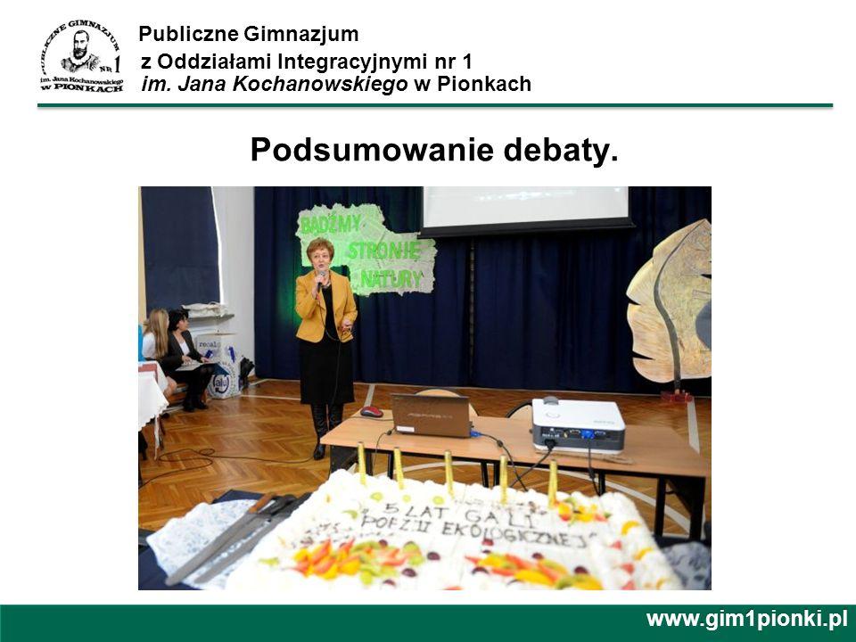 Publiczne Gimnazjum z Oddziałami Integracyjnymi nr 1 im. Jana Kochanowskiego w Pionkach Podsumowanie debaty. www.gim1pionki.pl
