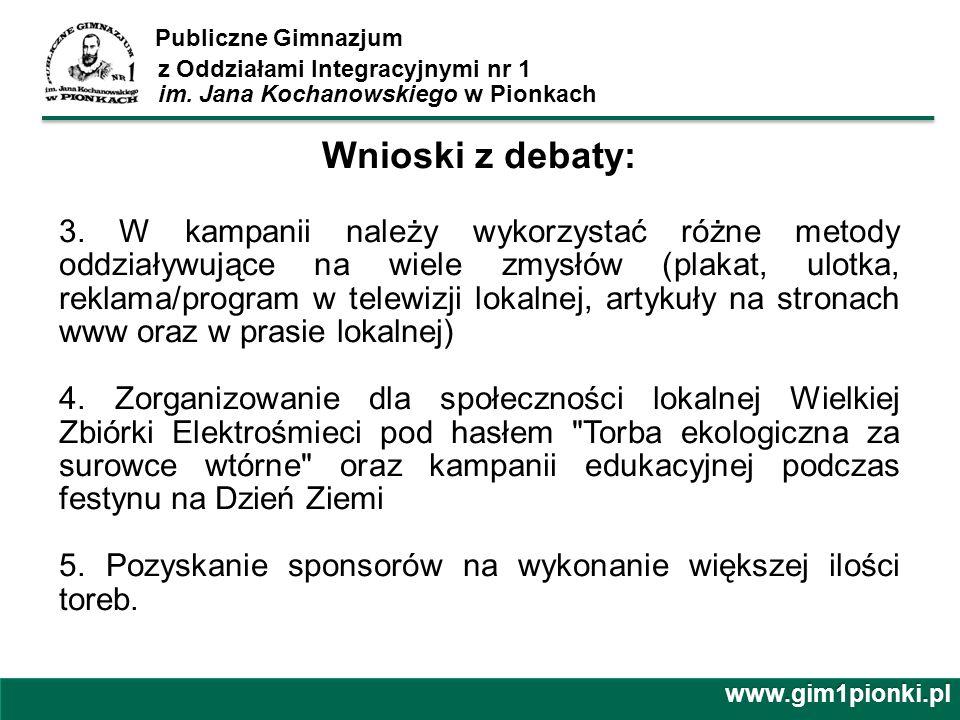 Publiczne Gimnazjum z Oddziałami Integracyjnymi nr 1 im. Jana Kochanowskiego w Pionkachwww.gim1pionki.pl Wnioski z debaty: 3. W kampanii należy wykorz