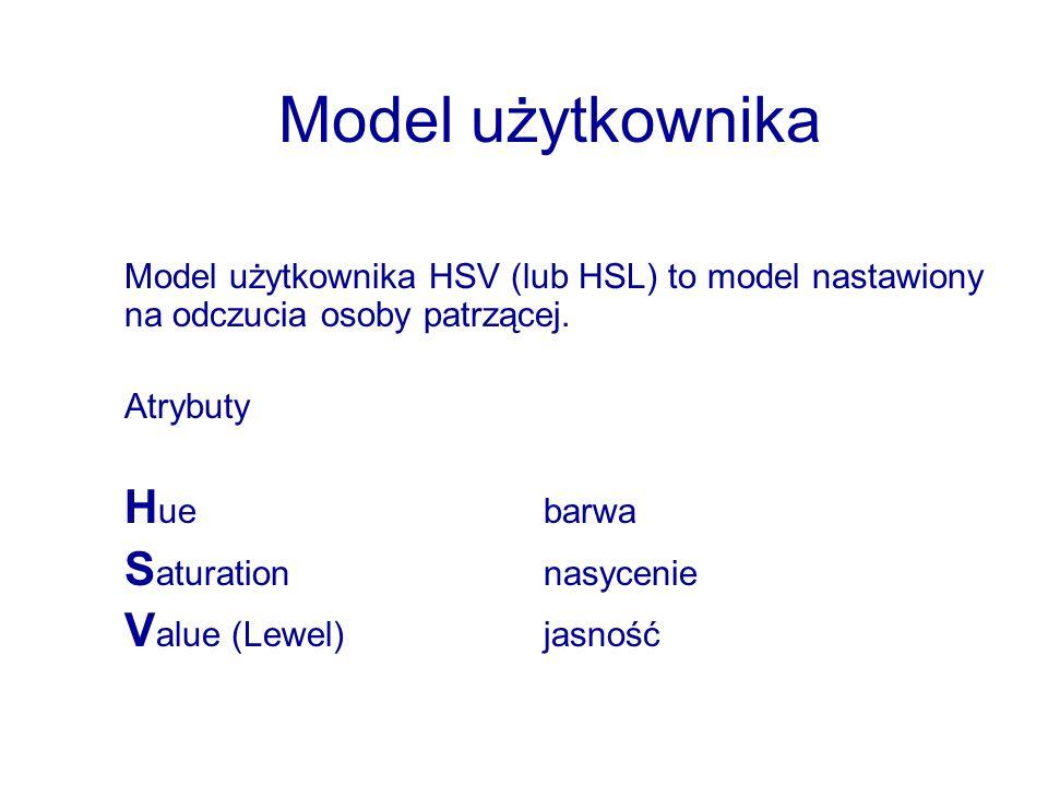 Model użytkownika Model użytkownika HSV (lub HSL) to model nastawiony na odczucia osoby patrzącej. Atrybuty H uebarwa S aturationnasycenie V alue (Lew