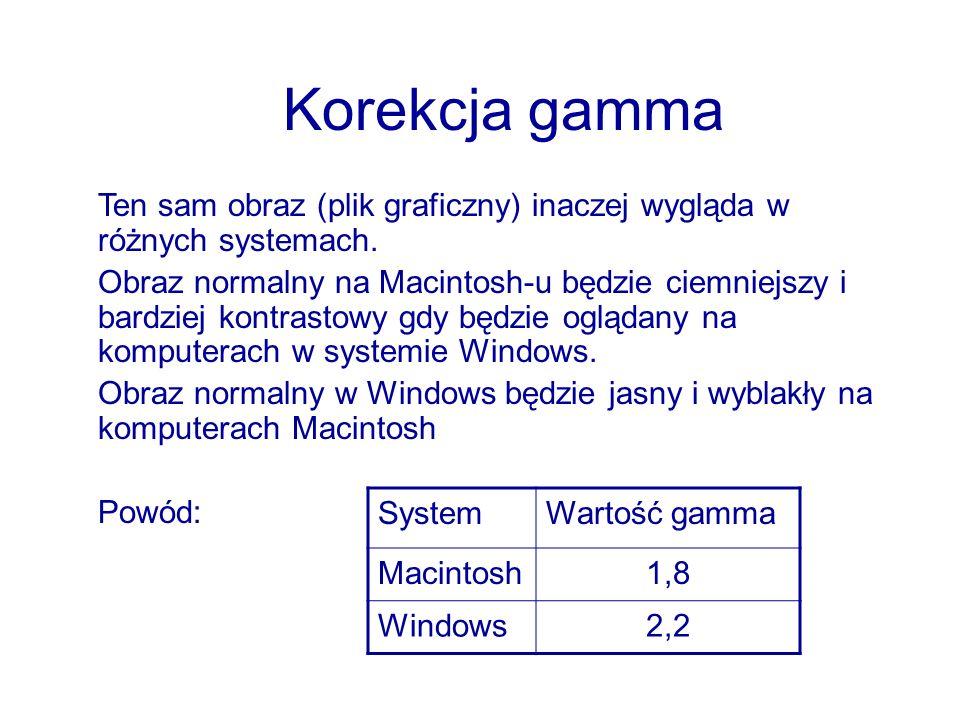 Korekcja gamma Ten sam obraz (plik graficzny) inaczej wygląda w różnych systemach. Obraz normalny na Macintosh-u będzie ciemniejszy i bardziej kontras
