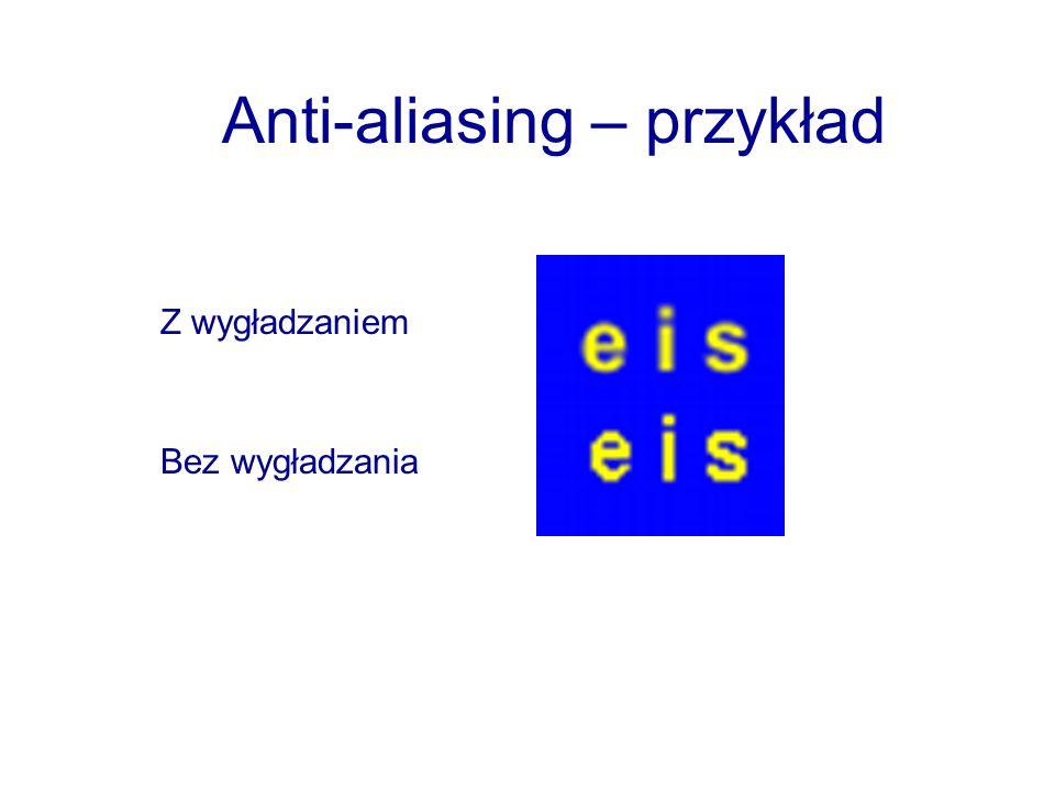 Anti-aliasing – przykład Z wygładzaniem Bez wygładzania
