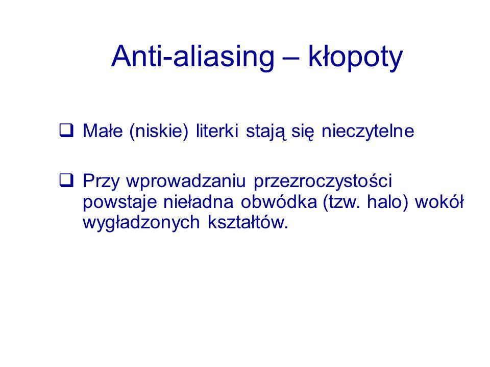 Anti-aliasing – kłopoty Małe (niskie) literki stają się nieczytelne Przy wprowadzaniu przezroczystości powstaje nieładna obwódka (tzw. halo) wokół wyg