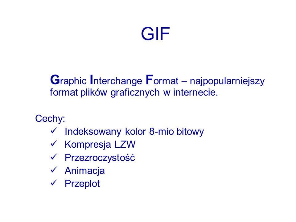 GIF G raphic I nterchange F ormat – najpopularniejszy format plików graficznych w internecie. Cechy: Indeksowany kolor 8-mio bitowy Kompresja LZW Prze