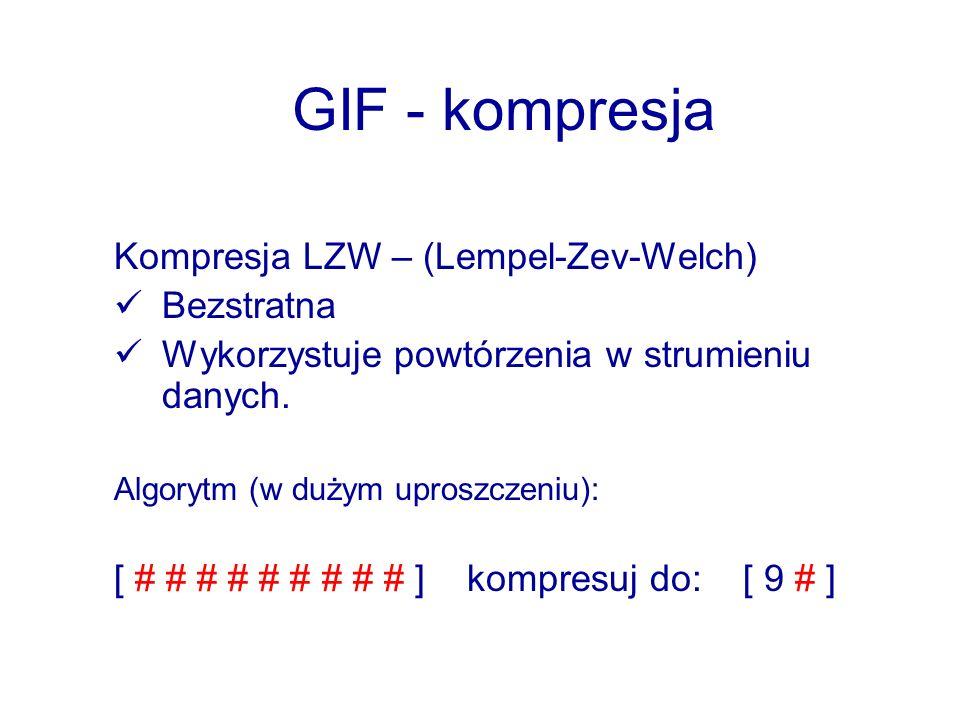GIF - kompresja Kompresja LZW – (Lempel-Zev-Welch) Bezstratna Wykorzystuje powtórzenia w strumieniu danych. Algorytm (w dużym uproszczeniu): [ # # # #