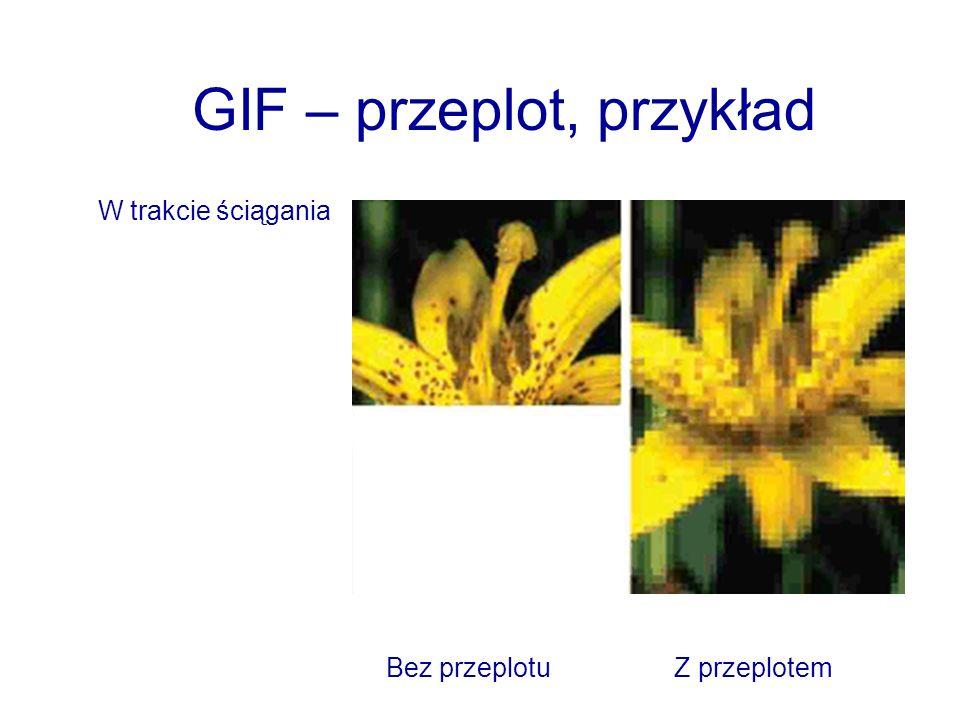 GIF – przeplot, przykład W trakcie ściągania Bez przeplotuZ przeplotem