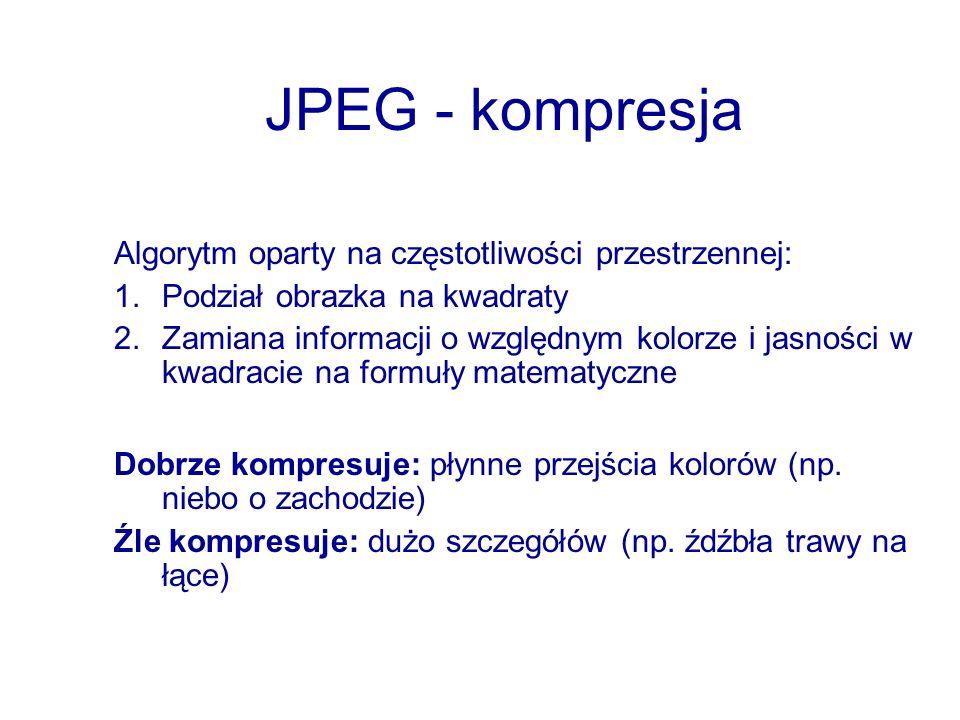 JPEG - kompresja Algorytm oparty na częstotliwości przestrzennej: 1.Podział obrazka na kwadraty 2.Zamiana informacji o względnym kolorze i jasności w