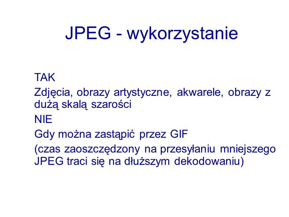 JPEG - wykorzystanie TAK Zdjęcia, obrazy artystyczne, akwarele, obrazy z dużą skalą szarości NIE Gdy można zastąpić przez GIF (czas zaoszczędzony na p