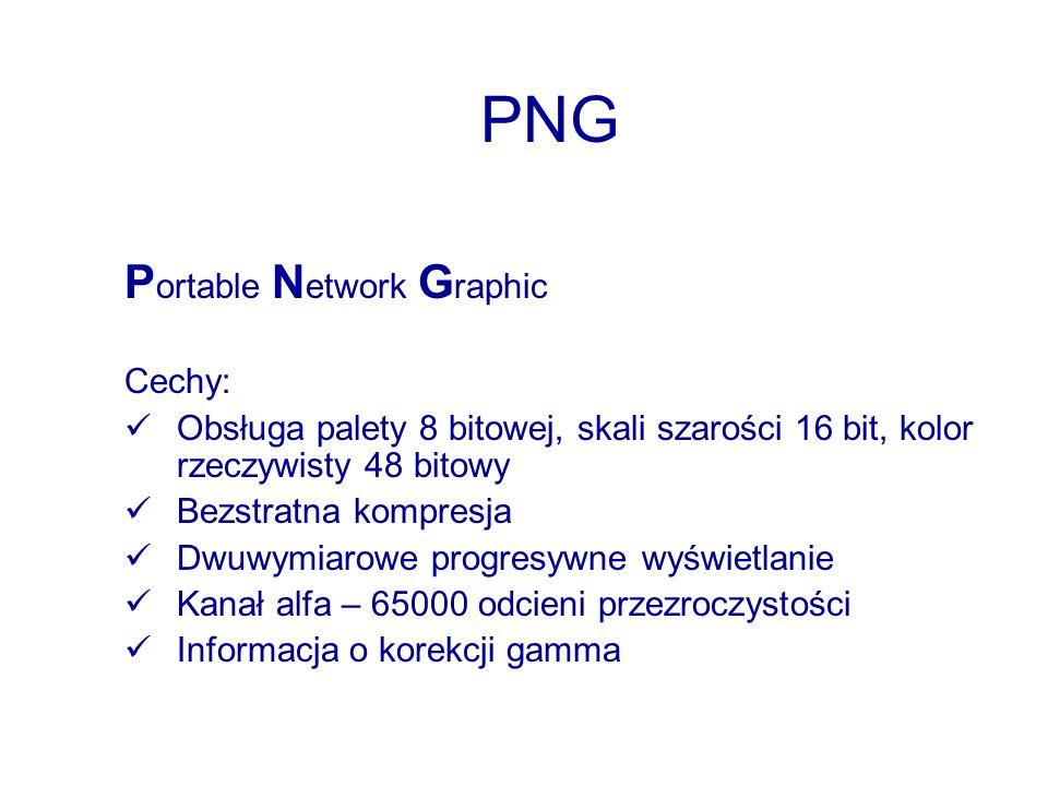 PNG P ortable N etwork G raphic Cechy: Obsługa palety 8 bitowej, skali szarości 16 bit, kolor rzeczywisty 48 bitowy Bezstratna kompresja Dwuwymiarowe