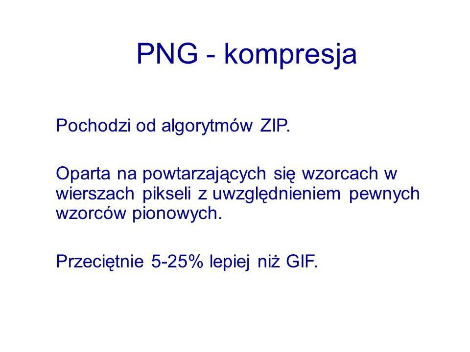 PNG - kompresja Pochodzi od algorytmów ZIP. Oparta na powtarzających się wzorcach w wierszach pikseli z uwzględnieniem pewnych wzorców pionowych. Prze