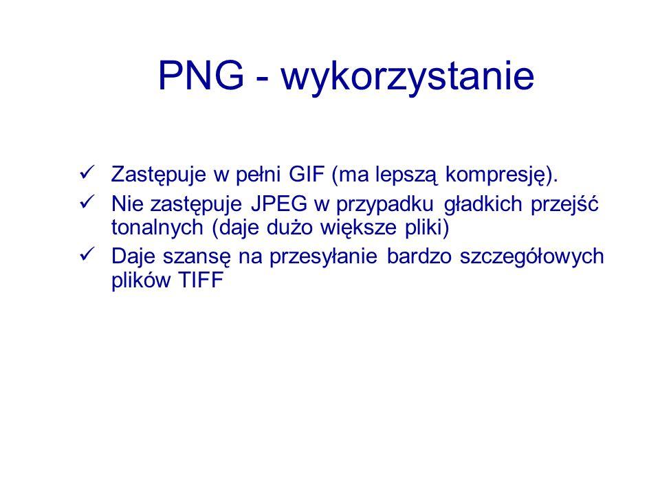 PNG - wykorzystanie Zastępuje w pełni GIF (ma lepszą kompresję). Nie zastępuje JPEG w przypadku gładkich przejść tonalnych (daje dużo większe pliki) D