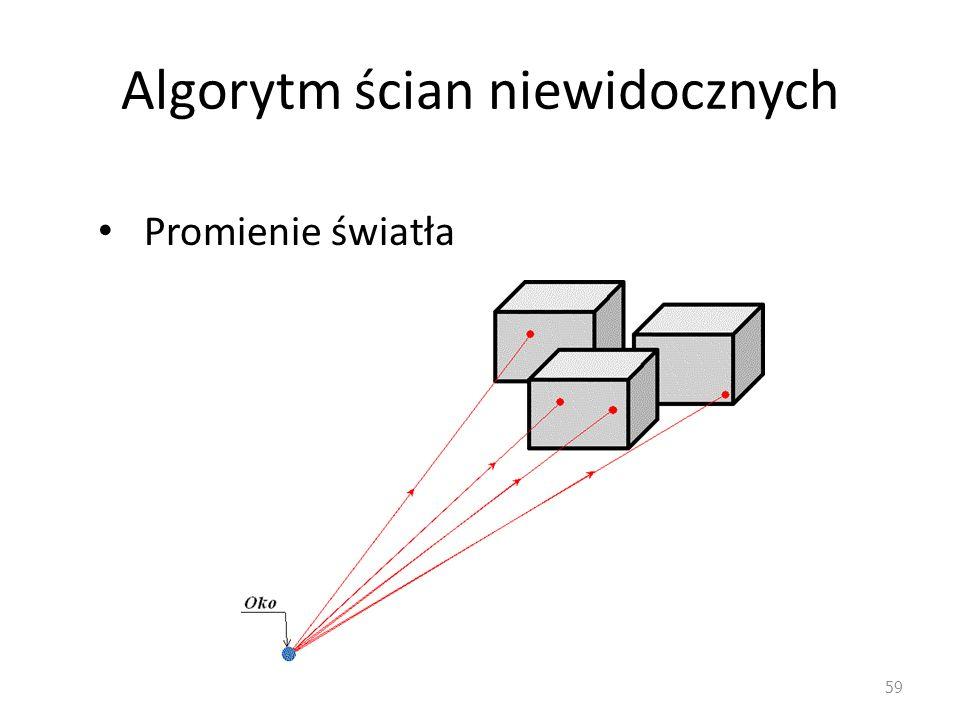 Algorytm ścian niewidocznych Promienie światła 59