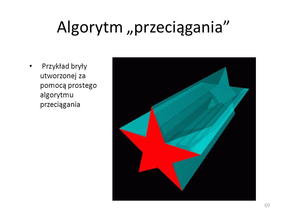 Algorytm przeciągania Przykład bryły utworzonej za pomocą prostego algorytmu przeciągania 69