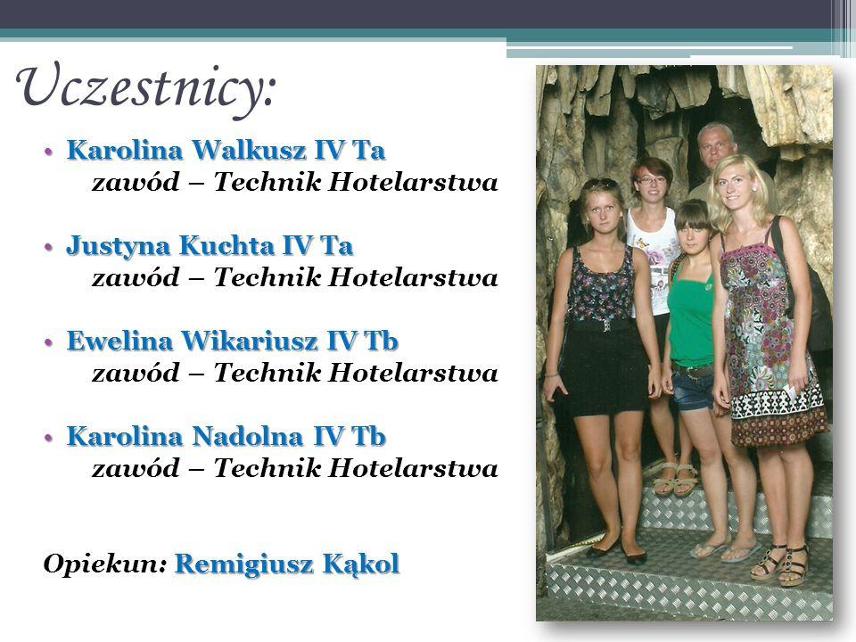 Uczestnicy: Karolina Walkusz IV TaKarolina Walkusz IV Ta zawód – Technik Hotelarstwa Justyna Kuchta IV TaJustyna Kuchta IV Ta zawód – Technik Hotelars