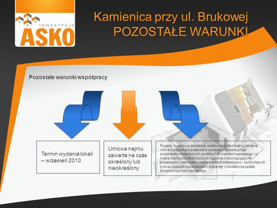 Pozostałe warunki współpracy Termin wydania lokali – wrzesień 2010 Umowa najmu zawarta na czas określony lub nieokreślony Projekty branżowe (sanitarne