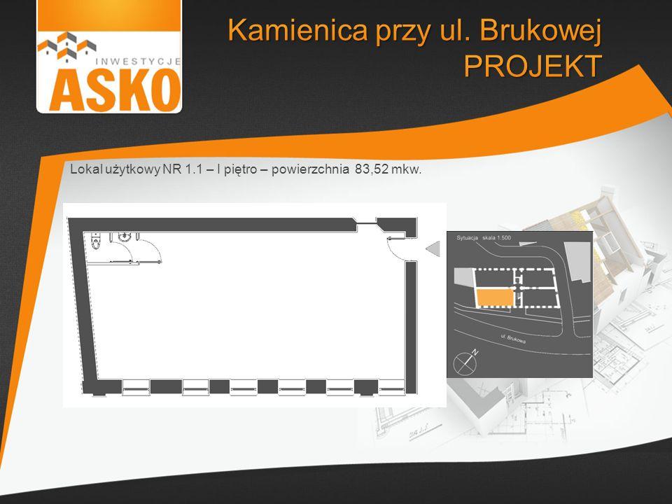Lokal użytkowy NR 1.1 – I piętro – powierzchnia 83,52 mkw.