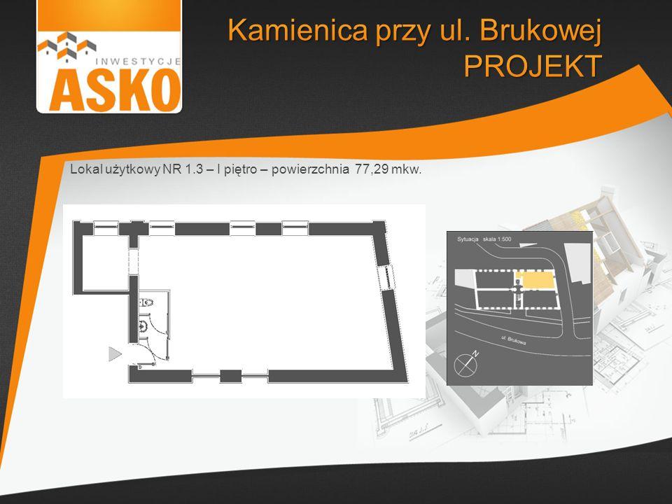 Lokal użytkowy NR 1.3 – I piętro – powierzchnia 77,29 mkw.
