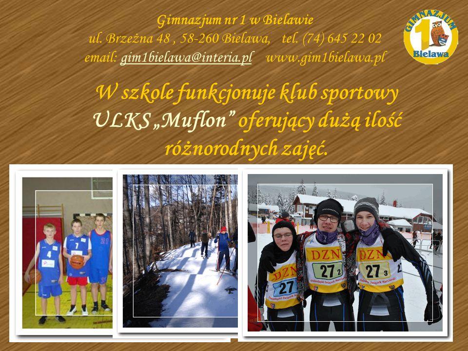 W szkole funkcjonuje klub sportowy ULKS Muflon oferujący dużą ilość różnorodnych zajęć. Gimnazjum nr 1 w Bielawie ul. Brzeżna 48, 58-260 Bielawa, tel.