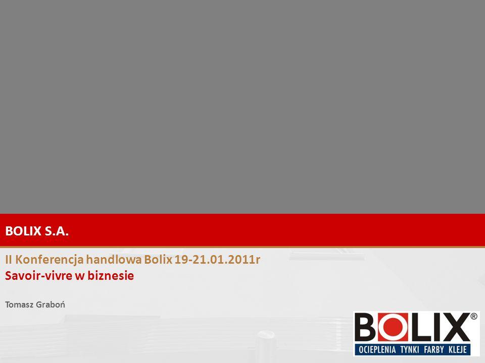 1 BOLIX S.A. II Konferencja handlowa Bolix 19-21.01.2011r Savoir-vivre w biznesie Tomasz Graboń