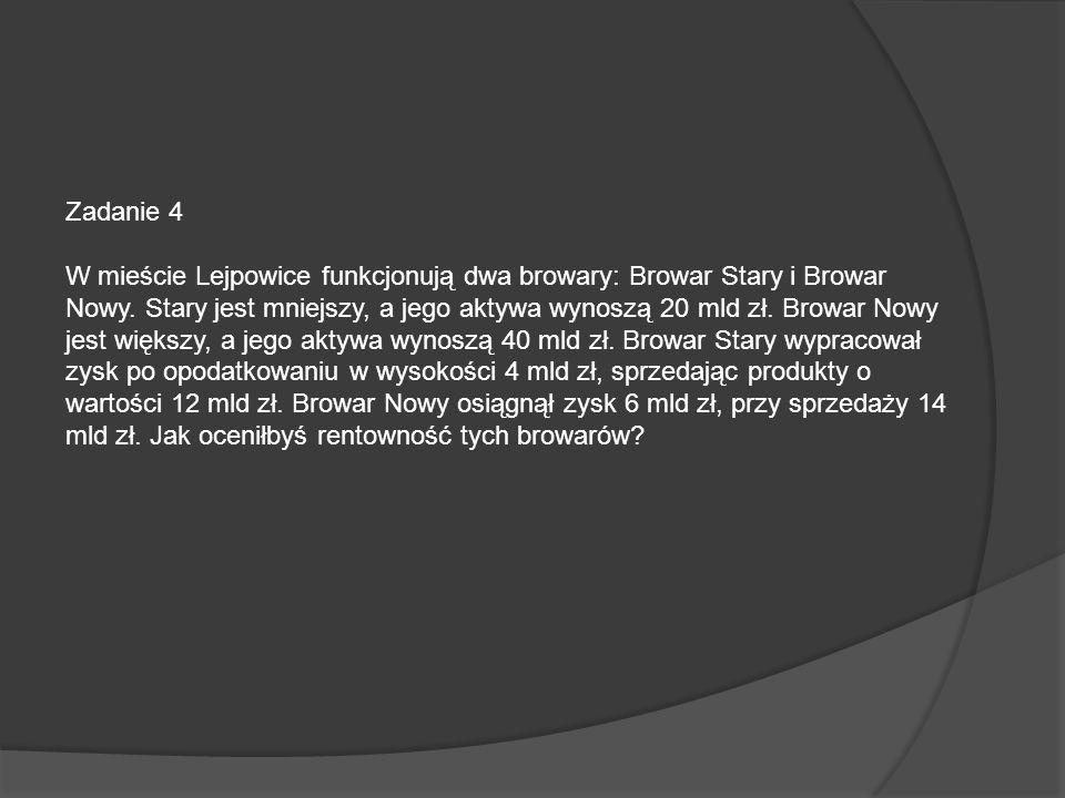 Zadanie 4 W mieście Lejpowice funkcjonują dwa browary: Browar Stary i Browar Nowy. Stary jest mniejszy, a jego aktywa wynoszą 20 mld zł. Browar Nowy j