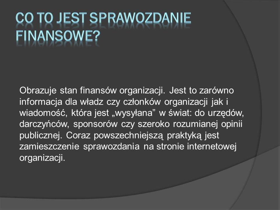 Obrazuje stan finansów organizacji. Jest to zarówno informacja dla władz czy członków organizacji jak i wiadomość, która jest wysyłana w świat: do urz