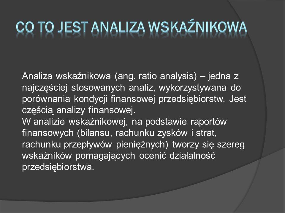 Analiza wskaźnikowa (ang. ratio analysis) – jedna z najczęściej stosowanych analiz, wykorzystywana do porównania kondycji finansowej przedsiębiorstw.