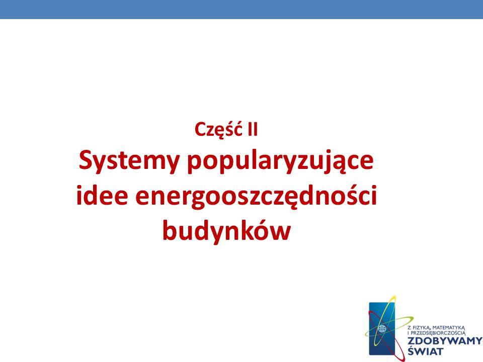 Część II Systemy popularyzujące idee energooszczędności budynków