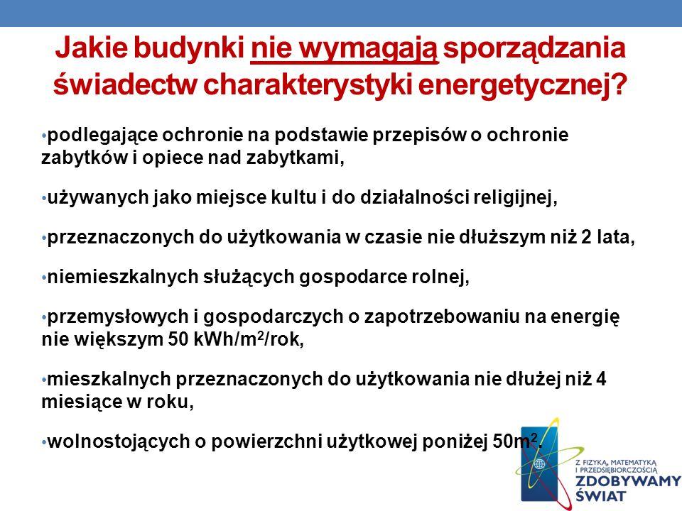 Jakie budynki nie wymagają sporządzania świadectw charakterystyki energetycznej.