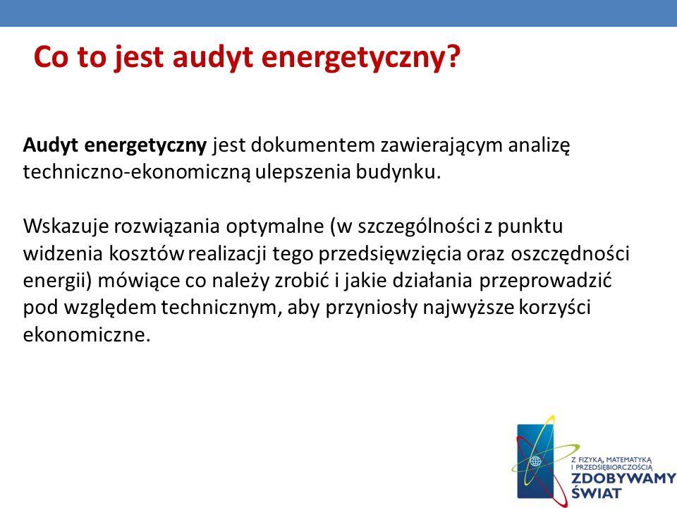Audyt energetyczny jest dokumentem zawierającym analizę techniczno-ekonomiczną ulepszenia budynku.