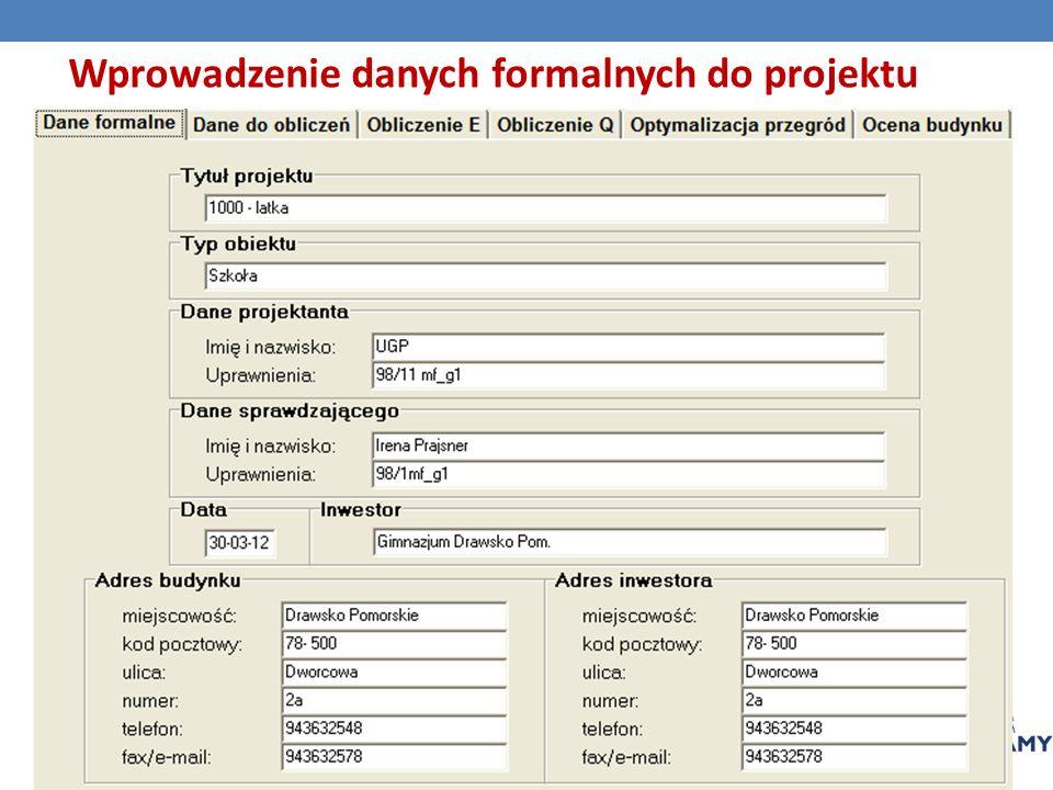 Wprowadzenie danych formalnych do projektu
