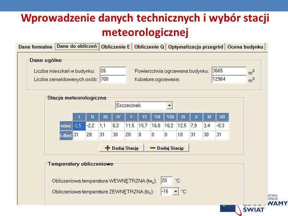 Wprowadzenie danych technicznych i wybór stacji meteorologicznej