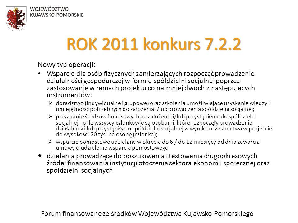 Forum finansowane ze środków Województwa Kujawsko-Pomorskiego ROK 2011 konkurs 7.2.2 Nowy typ operacji: Wsparcie dla osób fizycznych zamierzających rozpocząć prowadzenie działalności gospodarczej w formie spółdzielni socjalnej poprzez zastosowanie w ramach projektu co najmniej dwóch z następujących instrumentów: doradztwo (indywidualne i grupowe) oraz szkolenia umożliwiające uzyskanie wiedzy i umiejętności potrzebnych do założenia i/lub prowadzenia spółdzielni socjalnej; przyznanie środków finansowych na założenie i/lub przystąpienie do spółdzielni socjalnej –o ile wszyscy członkowie są osobami, które rozpoczęły prowadzenie działalności lub przystąpiły do spółdzielni socjalnej w wyniku uczestnictwa w projekcie, do wysokości 20 tys.