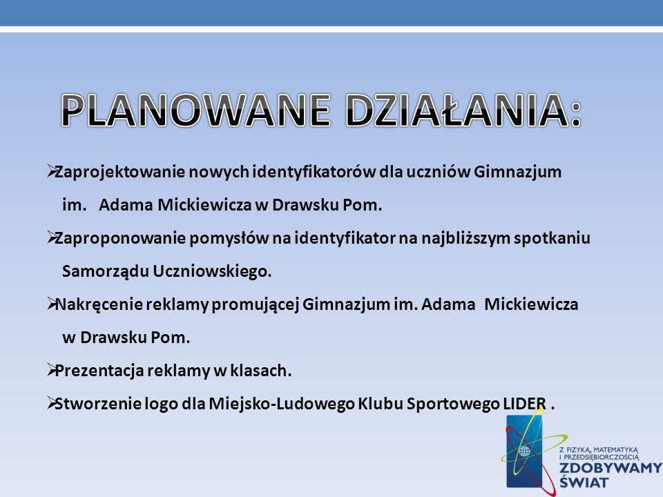 Zaprojektowanie nowych identyfikatorów dla uczniów Gimnazjum im.