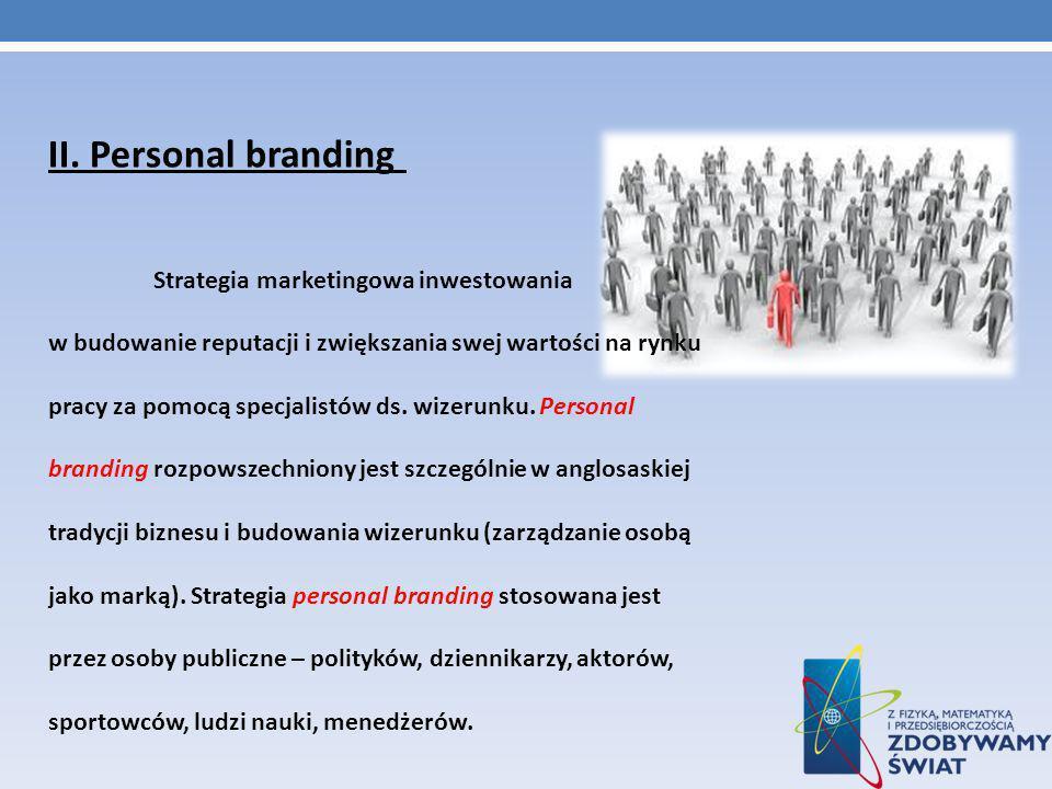 II. Personal branding Strategia marketingowa inwestowania w budowanie reputacji i zwiększania swej wartości na rynku pracy za pomocą specjalistów ds.