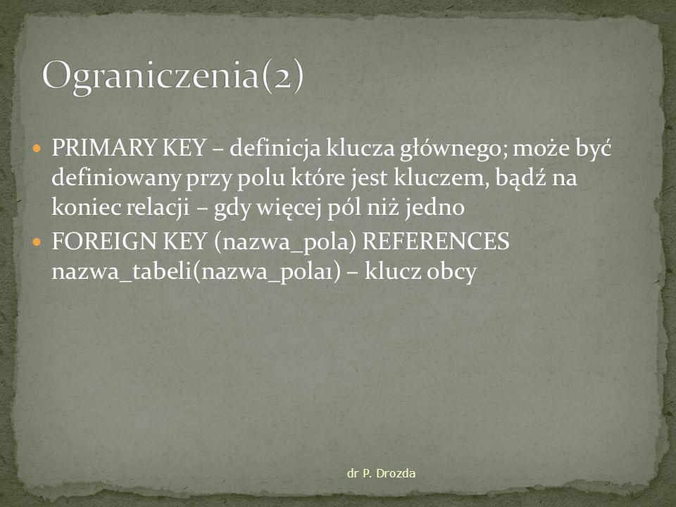 PRIMARY KEY – definicja klucza głównego; może być definiowany przy polu które jest kluczem, bądź na koniec relacji – gdy więcej pól niż jedno FOREIGN KEY (nazwa_pola) REFERENCES nazwa_tabeli(nazwa_pola1) – klucz obcy dr P.
