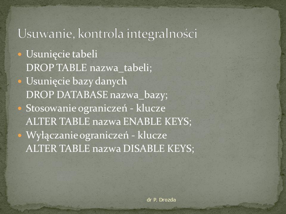 Usunięcie tabeli DROP TABLE nazwa_tabeli; Usunięcie bazy danych DROP DATABASE nazwa_bazy; Stosowanie ograniczeń - klucze ALTER TABLE nazwa ENABLE KEYS; Wyłączanie ograniczeń - klucze ALTER TABLE nazwa DISABLE KEYS; dr P.