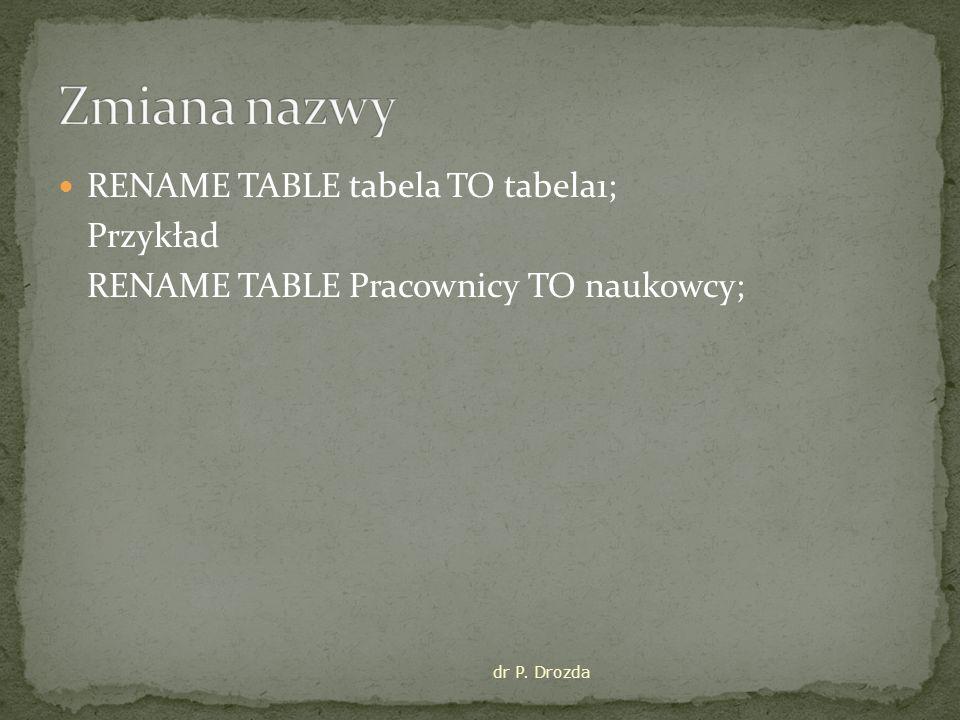 RENAME TABLE tabela TO tabela1; Przykład RENAME TABLE Pracownicy TO naukowcy; dr P. Drozda