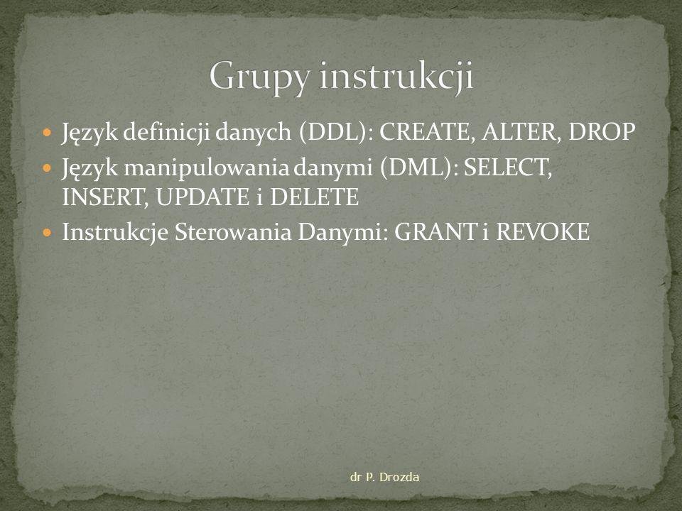 Język definicji danych (DDL): CREATE, ALTER, DROP Język manipulowania danymi (DML): SELECT, INSERT, UPDATE i DELETE Instrukcje Sterowania Danymi: GRANT i REVOKE dr P.