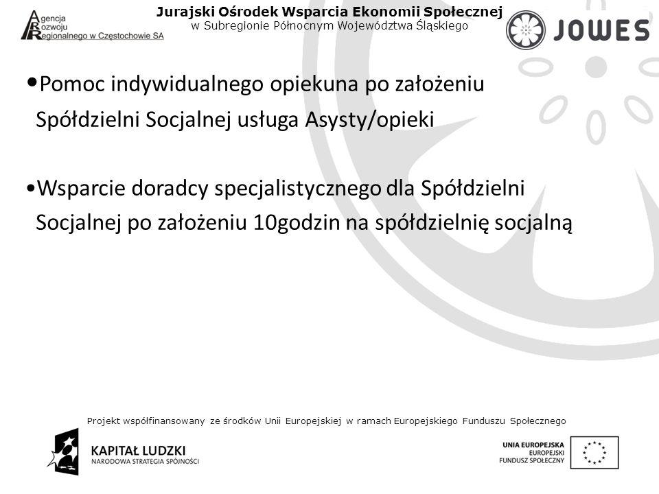 Projekt współfinansowany ze środków Unii Europejskiej w ramach Europejskiego Funduszu Społecznego Jurajski Ośrodek Wsparcia Ekonomii Społecznej w Subregionie Północnym Województwa Śląskiego Pomoc indywidualnego opiekuna po założeniu Spółdzielni Socjalnej usługa Asysty/opieki Wsparcie doradcy specjalistycznego dla Spółdzielni Socjalnej po założeniu 10godzin na spółdzielnię socjalną