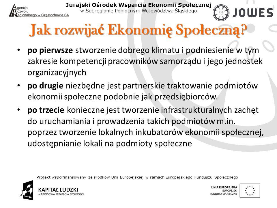 Projekt współfinansowany ze środków Unii Europejskiej w ramach Europejskiego Funduszu Społecznego Jurajski Ośrodek Wsparcia Ekonomii Społecznej w Subregionie Północnym Województwa Śląskiego Jak rozwija ć Ekonomi ę Spo ł eczn ą .