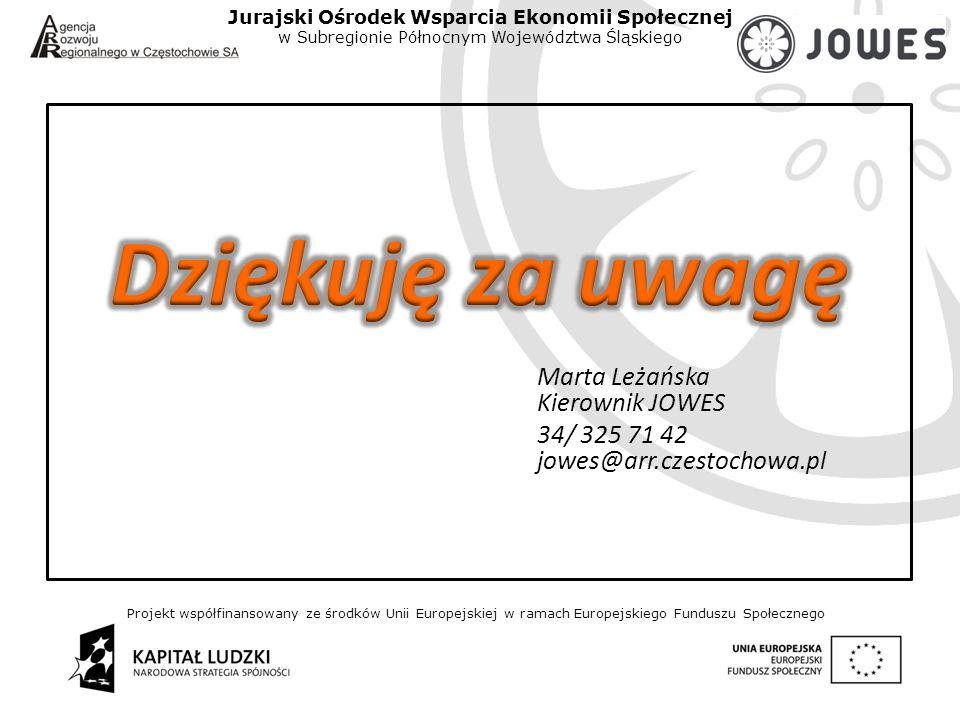 Projekt współfinansowany ze środków Unii Europejskiej w ramach Europejskiego Funduszu Społecznego Jurajski Ośrodek Wsparcia Ekonomii Społecznej w Subregionie Północnym Województwa Śląskiego