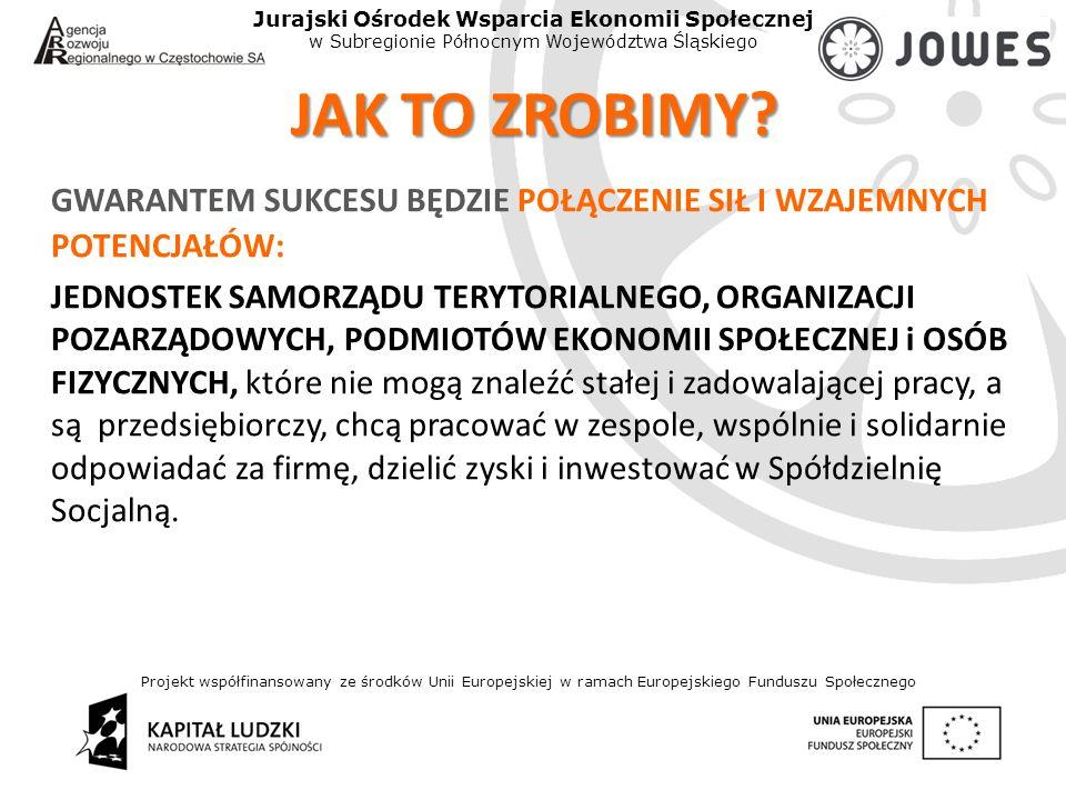 Projekt współfinansowany ze środków Unii Europejskiej w ramach Europejskiego Funduszu Społecznego Jurajski Ośrodek Wsparcia Ekonomii Społecznej w Subregionie Północnym Województwa Śląskiego JAK TO ZROBIMY.