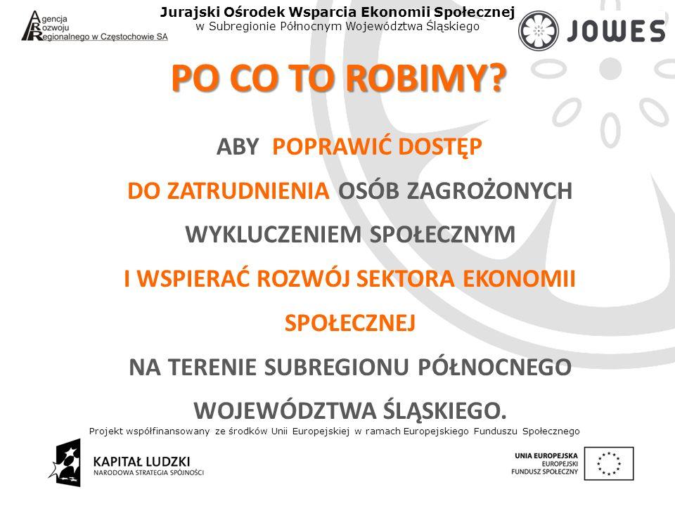 Projekt współfinansowany ze środków Unii Europejskiej w ramach Europejskiego Funduszu Społecznego Jurajski Ośrodek Wsparcia Ekonomii Społecznej w Subregionie Północnym Województwa Śląskiego PO CO TO ROBIMY.