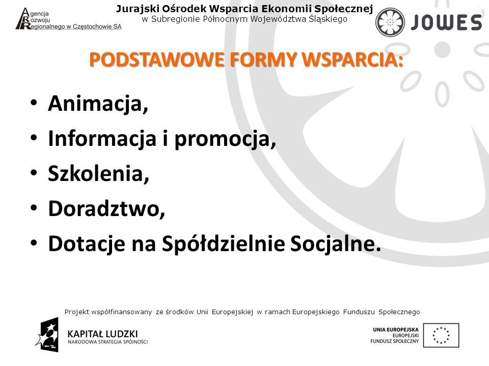 Projekt współfinansowany ze środków Unii Europejskiej w ramach Europejskiego Funduszu Społecznego Jurajski Ośrodek Wsparcia Ekonomii Społecznej w Subregionie Północnym Województwa Śląskiego PODSTAWOWE FORMY WSPARCIA: Animacja, Informacja i promocja, Szkolenia, Doradztwo, Dotacje na Spółdzielnie Socjalne.