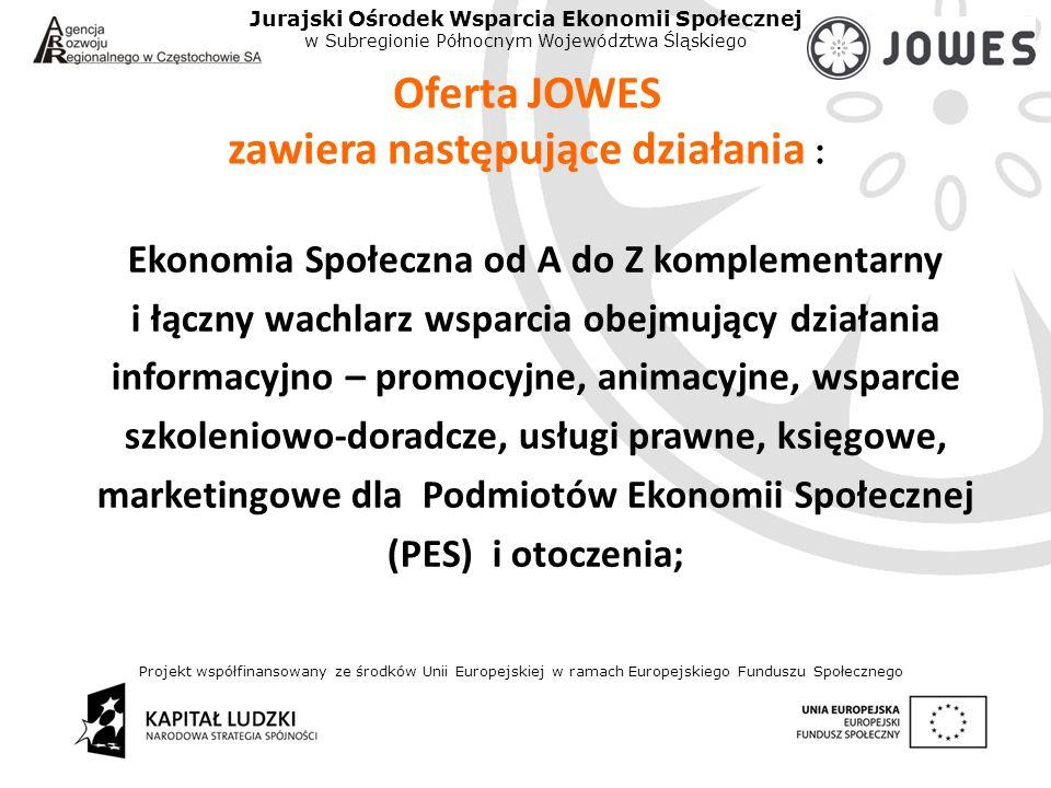 Projekt współfinansowany ze środków Unii Europejskiej w ramach Europejskiego Funduszu Społecznego Jurajski Ośrodek Wsparcia Ekonomii Społecznej w Subregionie Północnym Województwa Śląskiego Oferta JOWES zawiera następujące działania : Ekonomia Społeczna od A do Z komplementarny i łączny wachlarz wsparcia obejmujący działania informacyjno – promocyjne, animacyjne, wsparcie szkoleniowo-doradcze, usługi prawne, księgowe, marketingowe dla Podmiotów Ekonomii Społecznej (PES) i otoczenia;