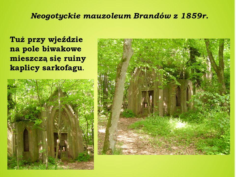 Neogotyckie mauzoleum Brandów z 1859r. Tuż przy wjeździe na pole biwakowe mieszczą się ruiny kaplicy sarkofagu.
