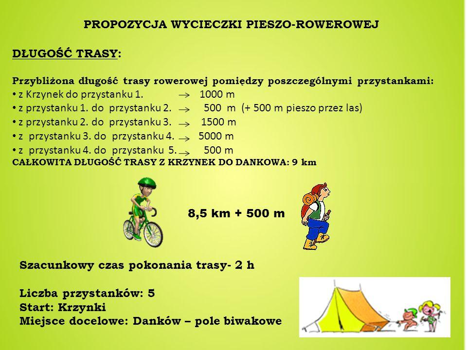 PROPOZYCJA WYCIECZKI PIESZO-ROWEROWEJ DŁUGOŚĆ TRASY: Przybliżona długość trasy rowerowej pomiędzy poszczególnymi przystankami: z Krzynek do przystanku