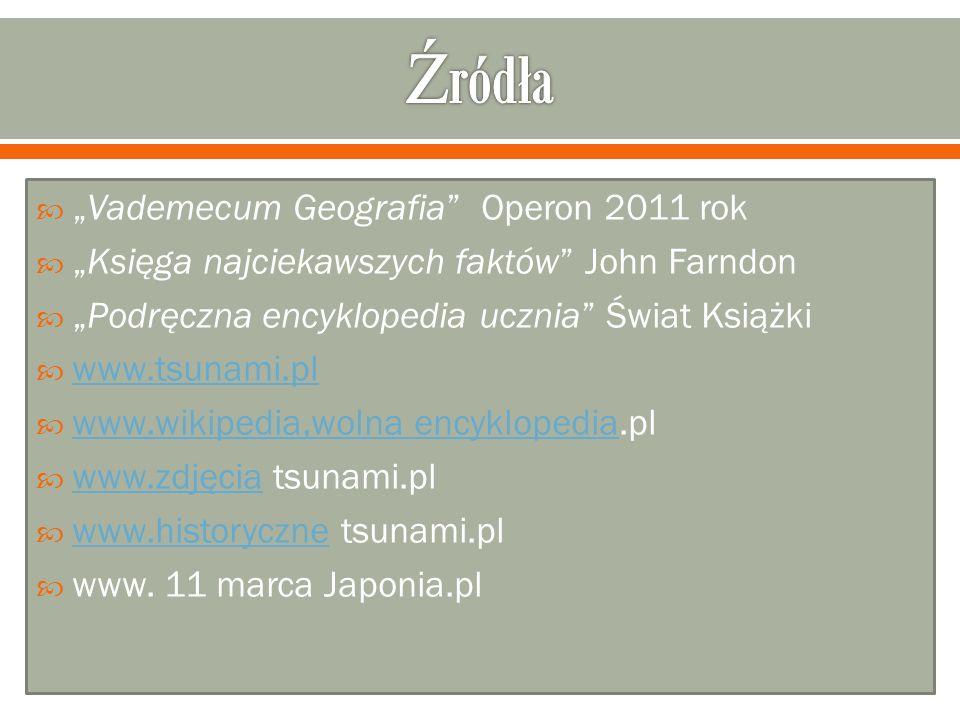 Vademecum Geografia Operon 2011 rok Księga najciekawszych faktów John Farndon Podręczna encyklopedia ucznia Świat Książki www.tsunami.pl www.wikipedia