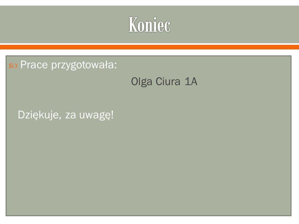 Prace przygotowała: Olga Ciura 1A Dziękuje, za uwagę!